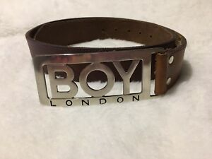 Boy London Punk Designer Logo Buckle with Brown Leather Belt Vintage Rare 32