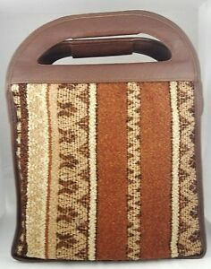 Vintage Soft Side Cooler Yucatecan Azteca Look Flap Top Tote Style Hippie 70's