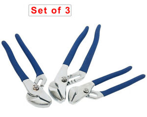 3PC Adjustable Tongue and Groove Pliers  8 10 12'' Sharp Right Angle Teeth