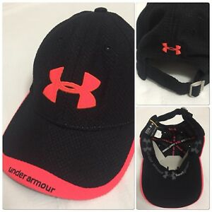 Under Armour Womens Low Profile Golf Cap Black Pink Heat Gear Baseball Hat OSFA