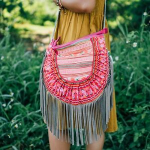 Bohemian Leather Fringed Purse with Vintage Hmong Embroidered for Women
