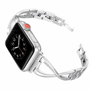 iWatch Band 38mm Series 3 2 1 Fashionable With Rhinestones Replacement Silver
