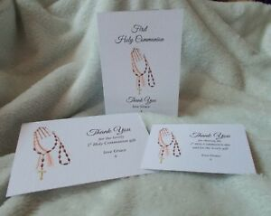 personalised first holy communion thank you cards with envs size A6 or A7 rosary