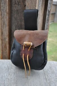 Hand Stitched Leather Belt Bag or Belt Pouch with Antler Closure and drawstring