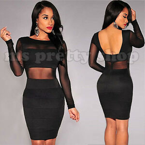 Womens Black See Thru Mesh Long Sleeves Open Back Bodycon Party Evening Dress