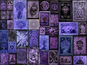 Purple Cotton Indian Posters Tapestry Table Cloth Wall Hanging Art Throw Hippie