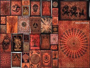 Indian Orange Cotton Small Tapestry Posters Wall Art Table Cloth Throw  Hippie