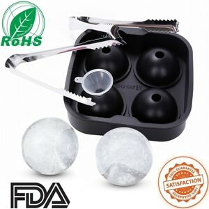Ice Ball Sphere Cube Mould Maker ?? KitchCater ?? Silicone Ice Cubes Trays (4