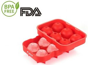 OMIAX Ice Cube Ball Maker Tray 6 X 4.5cm Ice Ball Mold With Leak Proof Food -