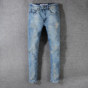 18 New Fashion OFF WHITE jeans ripped ragged Denim pants Striped Designer Jeans