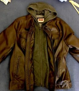 Levi's Men's Large Double Layer Hoodie Bomber Leather Designer Jacket Brown