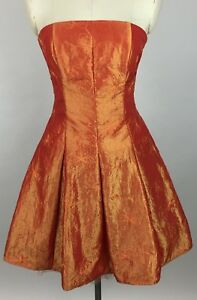 Jessica McClintock Womens Short Party Prom Cocktail Dress SZ 6 Strapless Orange