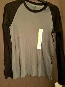 Mens C9 Champion Long Sleeve Semi Fitted Duo Dry Gray Black Small Shirt NWT