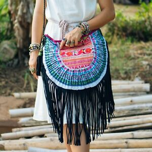Boho Fringe Crossbody Bag for Women with Vintage Hmong Hill Tribe Embroidered
