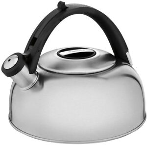 Stovetop Tea Kettle Durable Stainless Steel Construction Ergonomic Handle 8 Cup
