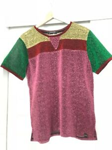 ladies scotch & soda lurex t-shirt size XL green gold red pink sparkly top