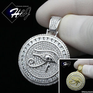 MEN 925 STERLING SILVER ICED BLING EYE OF HORUS SILVERGOLD ROUND PENDANT*SP204
