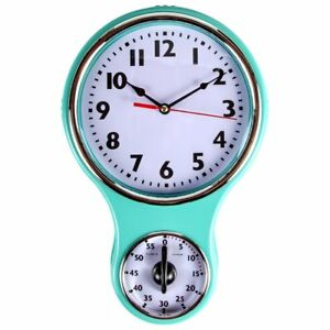 Home Retro Kitchen Modern Timer Wall Clock Built-in Bell Shape Decor Turquoise