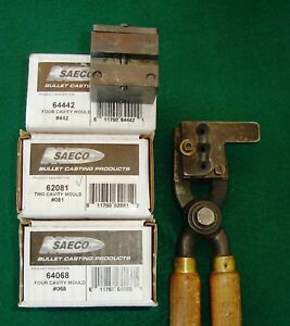 Large lot (5) SAECO bullet moulds with one set of handles