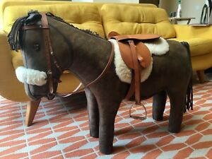 Omersa Abercrombie and Fitch Leather Pony Horse Footstool Mid Century Modern