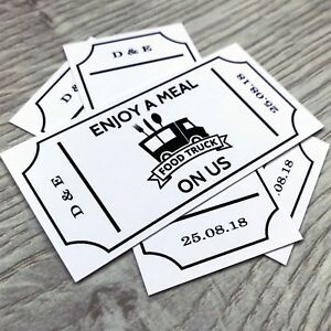 50 Personalised Meal Food Tickets Wedding Truck Bar White Card
