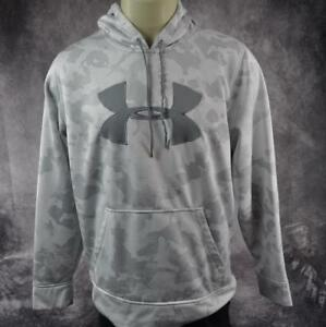 Under Armour Men's White and Gray Hoodie Sweatshirt Size Large Camo Pattern