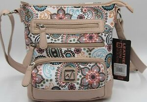 Stone mountain leather crossbody Crazy Paisley Pattern bag