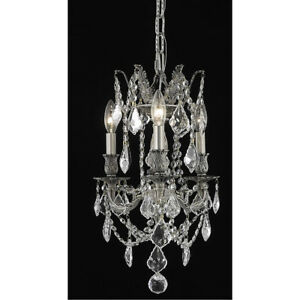 9203 Rosalia Collection Pendant D:13in H:18in Lt:3 Pewter Finish