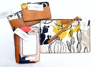 NEW 4 PIECES FOSSIL KEELY CARD CASE COIN POUCH ID PINK FLORAL LEATHER WALLET
