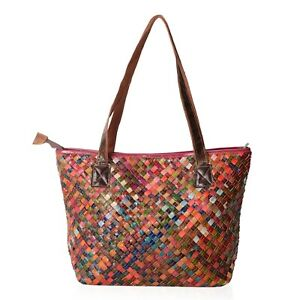 Multi Color Block Pattern Genuine Leather Tote Bag with Handle 16.2x16.6x11.4