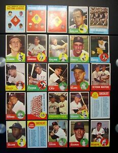 1963 TOPPS BASEBALL CARDS IN  EX OR BETTER- FINISH YOUR SET ONE LOW SHIP $