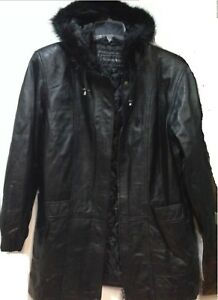 Women's Winter Black Leather Lambskin Hooded faux fur jacket coat plus size L