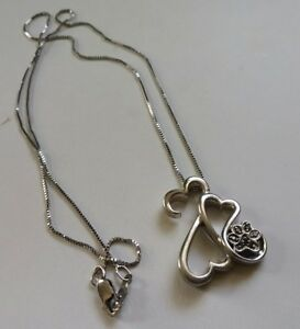 Sterling Silver Black Diamond  OPEN HEART Dog Cat PAW Print Necklace JWBR 925
