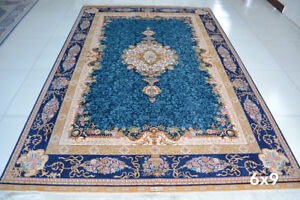 6'x 9' Wonderful Sea Blue Navy Tan Gold Hand Knotted 367KPSI Silk Persian Rug