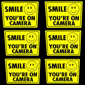 LOT 6 SMILE YOURE ON CAMERA WINDOW WARNING STICKER SIGNS FOR HOME