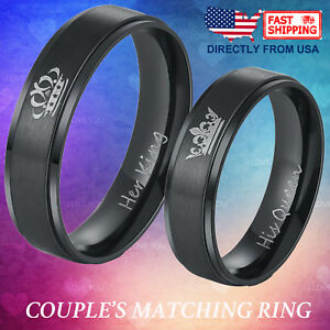 Couple's Matching Ring Her King or His Queen Stainless Steel Wedding Band
