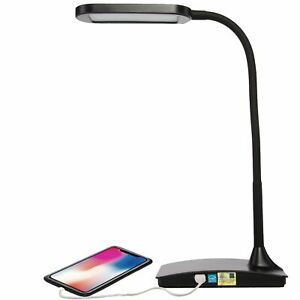 LED Desk Lamp with USB Charging Port 3 Way Touch Switch Dorm Room Office Black