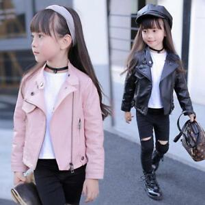 New Kids girls biker motorcycle PU Leather Jacket Coat outwear zipper lapel Chic