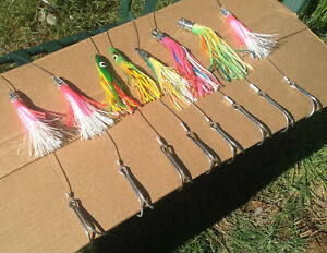 Tuna Fishing Hand Lines 8 Skirted Lures Fully Rigged Albacore Trolling