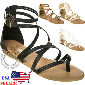 Women's Strappy Crisscross Gladiator Low Flat Heel Summer Wedge Sandals Shoes