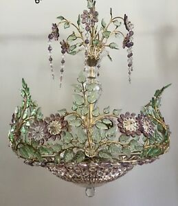 MAISON BAGUES French Vintage Crystal Beaded Flower Basket Bronze Chandelier