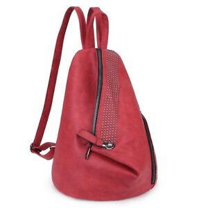Dasein Fashion Women Faux Leather Casual Backpack w Sling Studs for School