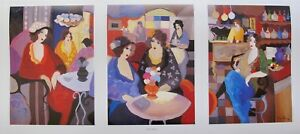 Itzchak Tarkay CAFE SELECT Facsimile Signed Triptych Lithograph Art $39.99