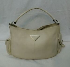 PRADA IVORY LEATHER HAND BAG