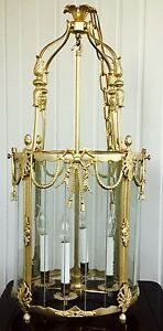 French Louis XVI Style Gild Bronze Lantern Chandelier Foyer Hall Ceiling Fixture