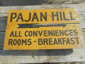 Rare Vintage PAJAN HILL - WINCHESTER VA - Advertising Arrow Wood Rooms SIGN