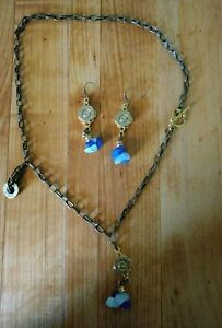 Ladies Necklace And Earring Set 308 Turquoise Antique Gold Plated