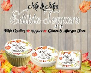 Mr and Mrs edible cookie toppers images pictures cupcakes Leaves wedding fall