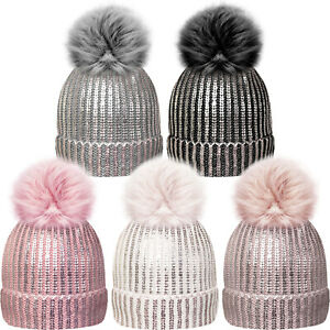 Ladies Girls Silver Bling Beanie Hat with Metallic Print Large Faux Fur Pompom
