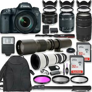 Canon EOS 7D Mark II DSLR Camera with (5) Lenses + Professional Accessory Kit